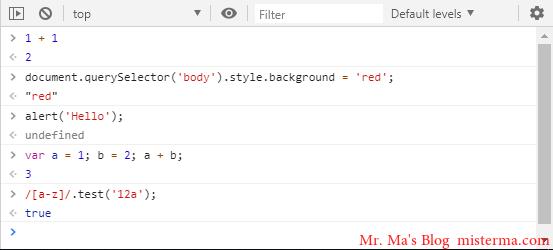 Chrome开发者工具直接在控制台输入JS代码