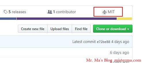 Github 开源许可的位置